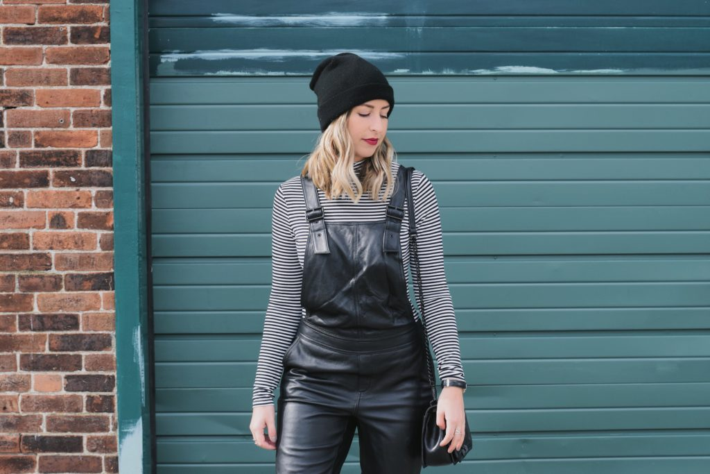 walking in olivia palermo and nordstrom chelsea28 leather overalls