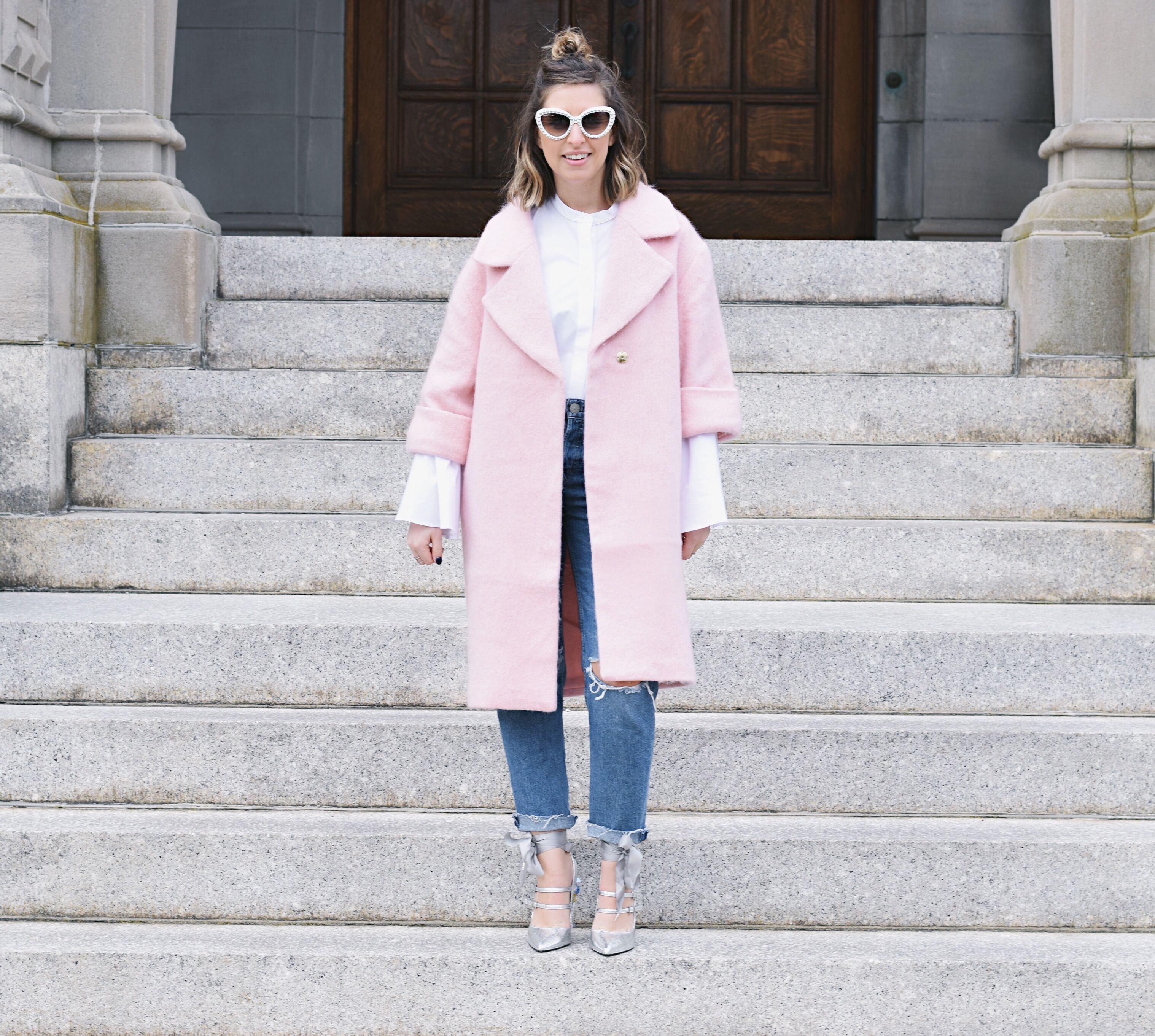 wearing feminine pink coat for winter