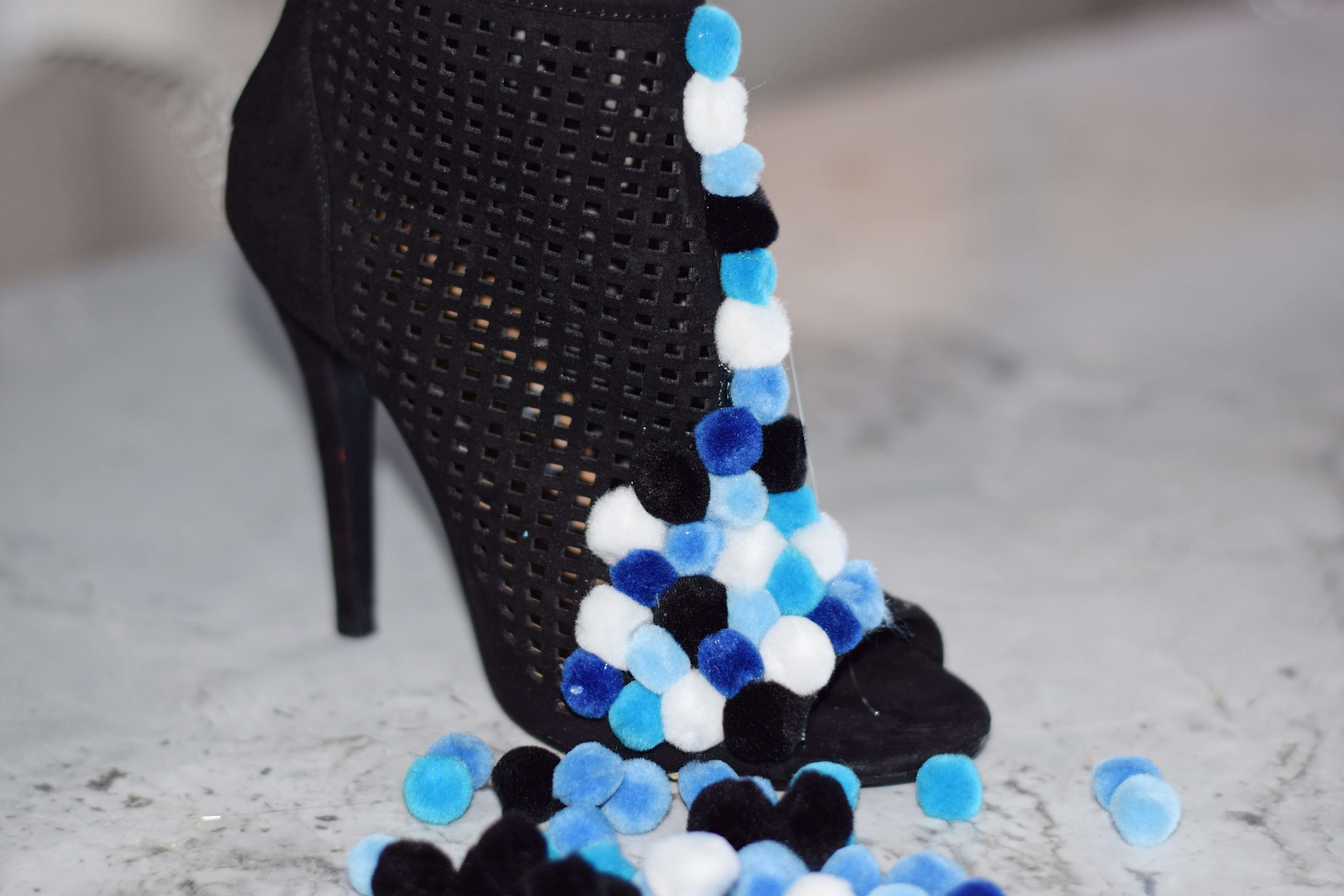 diy embellished booties with pom poms