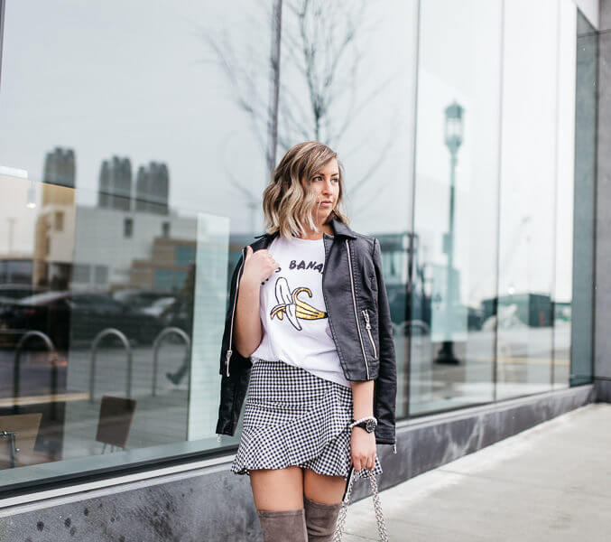 a gingham and leather skirt combo for spring