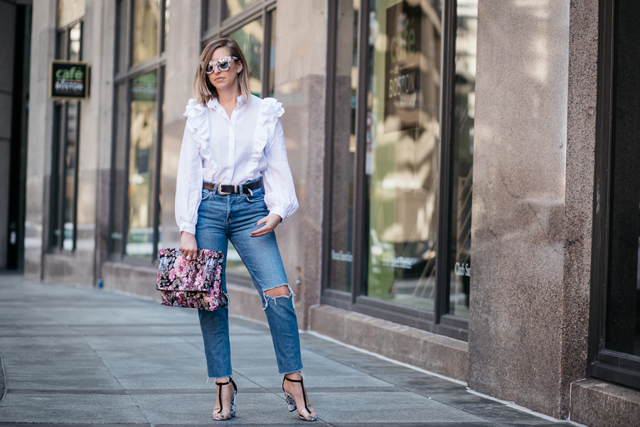 spring statement trend is a ruffled blouse by Chelsea Deakin of Proverbial Hearts