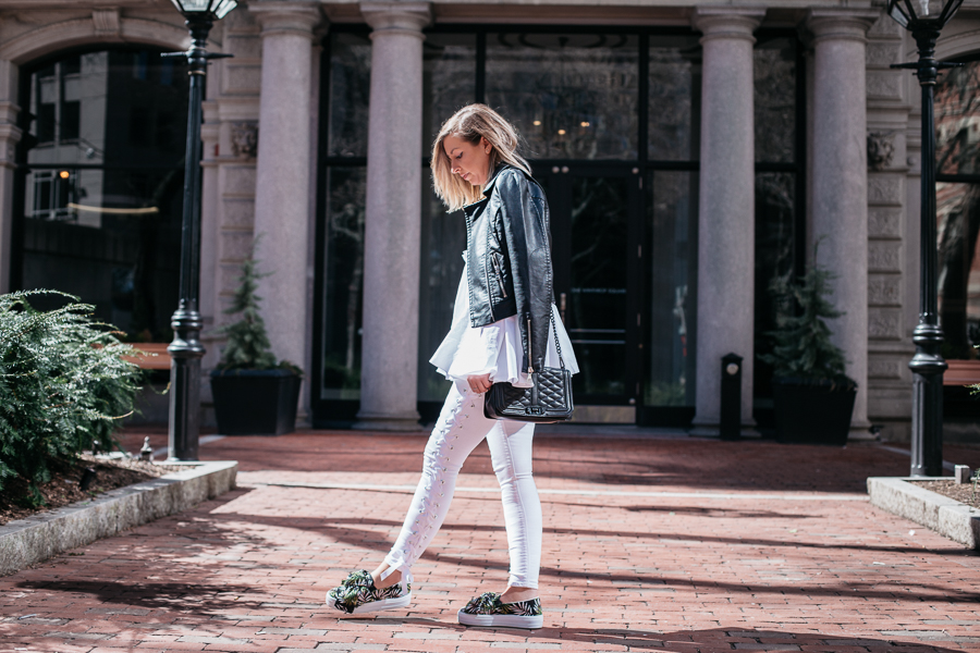 white lace up jeans by proverbial hearts