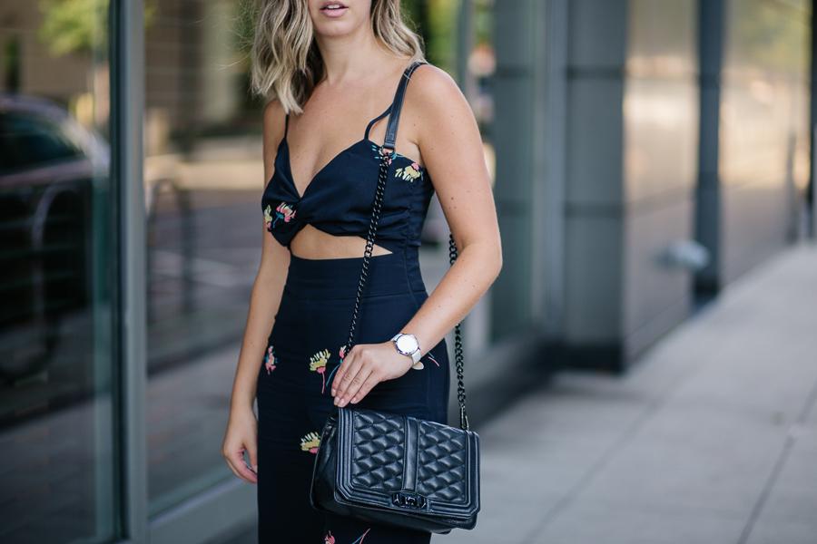 Chelsea Deakin of Proverbial Hearts wearing Asos floral jumpsuit